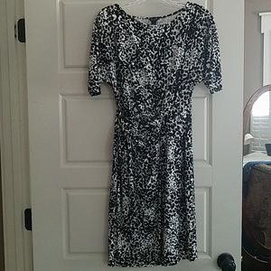 Ann Taylor side tie black and ivory printed dress